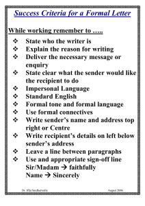 Success Criteria for a Formal Letter