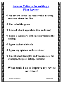 Success Criteria for writing a Film Review
