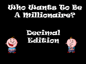 Who Wants To Be A Millionaire? Decimal Edition