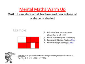 Mental Maths Warm Up Example: a shape is shaded