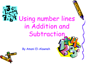 Using number lines in Addition and Subtraction By Amani El-Alawneh