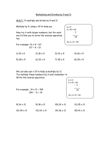 Multiplying and Dividing by 9 and 11