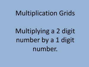 Multiplication Grids Multiplying a 2 digit number by a 1 digit number.