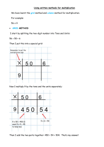Using written methods for multiplication We have learnt the method and