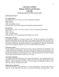 Laboratory Syllabus Biology of Plants and Microbes Fall 2006