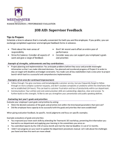 JOB AID: Supervisor Feedback  Tips to Prepare