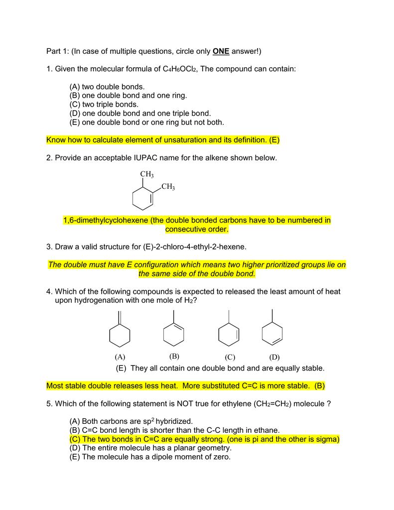 Given The Molecular Formula Of C H