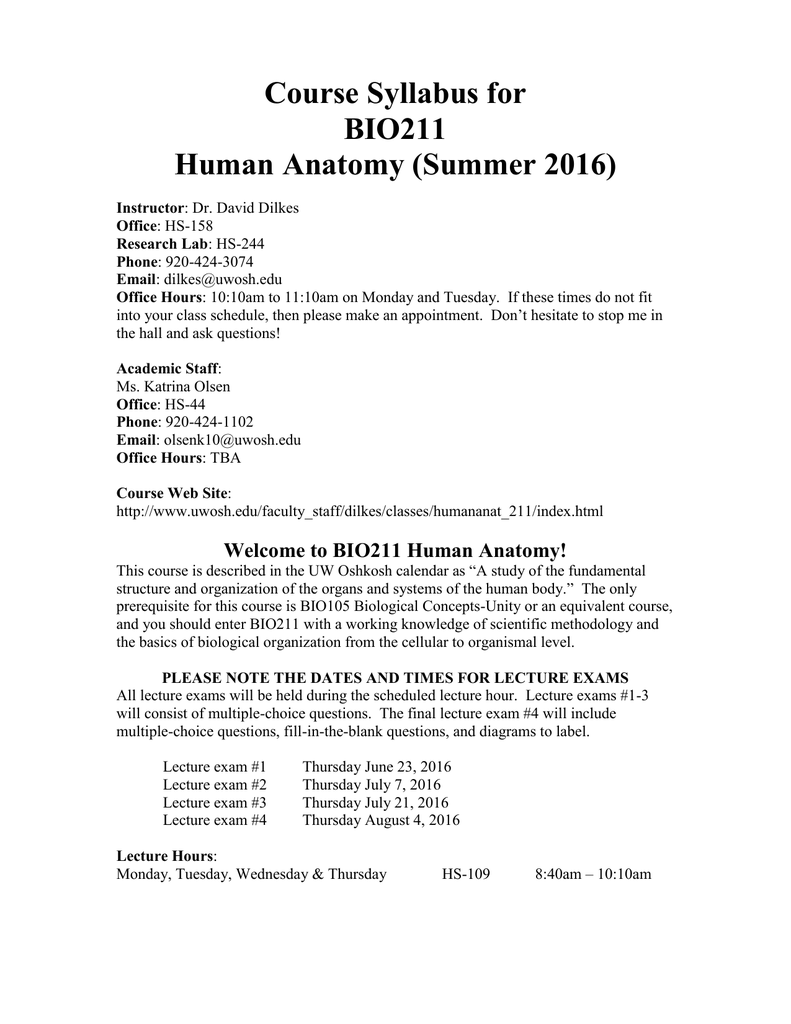 Course Syllabus for BIO211 Human Anatomy (Summer 2016)
