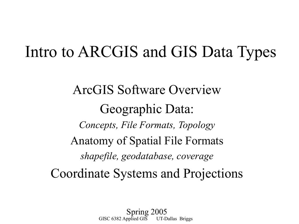 Intro to ARCGIS and GIS Data Types ArcGIS Software Overview
