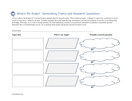 What's My Angle?  Generating Topics and Research Questions