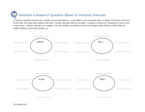 Generate a Research Question Based on Personal Interests