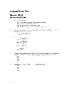 Multiple-Choice Test Chapter 01.02 Measuring Errors