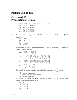 Multiple-Choice Test Chapter 01.06 Propagation of Errors