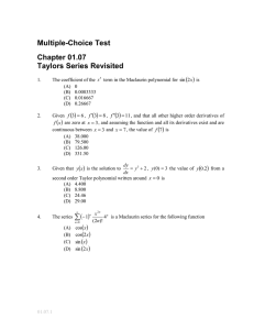 Multiple-Choice Test Chapter 01.07 Taylors Series Revisited
