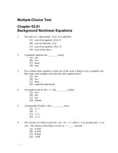 Multiple-Choice Test Chapter 03.01 Background Nonlinear Equations