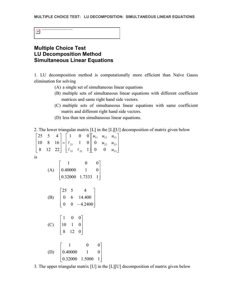 Multiple Choice Test LU Decomposition Method Simultaneous