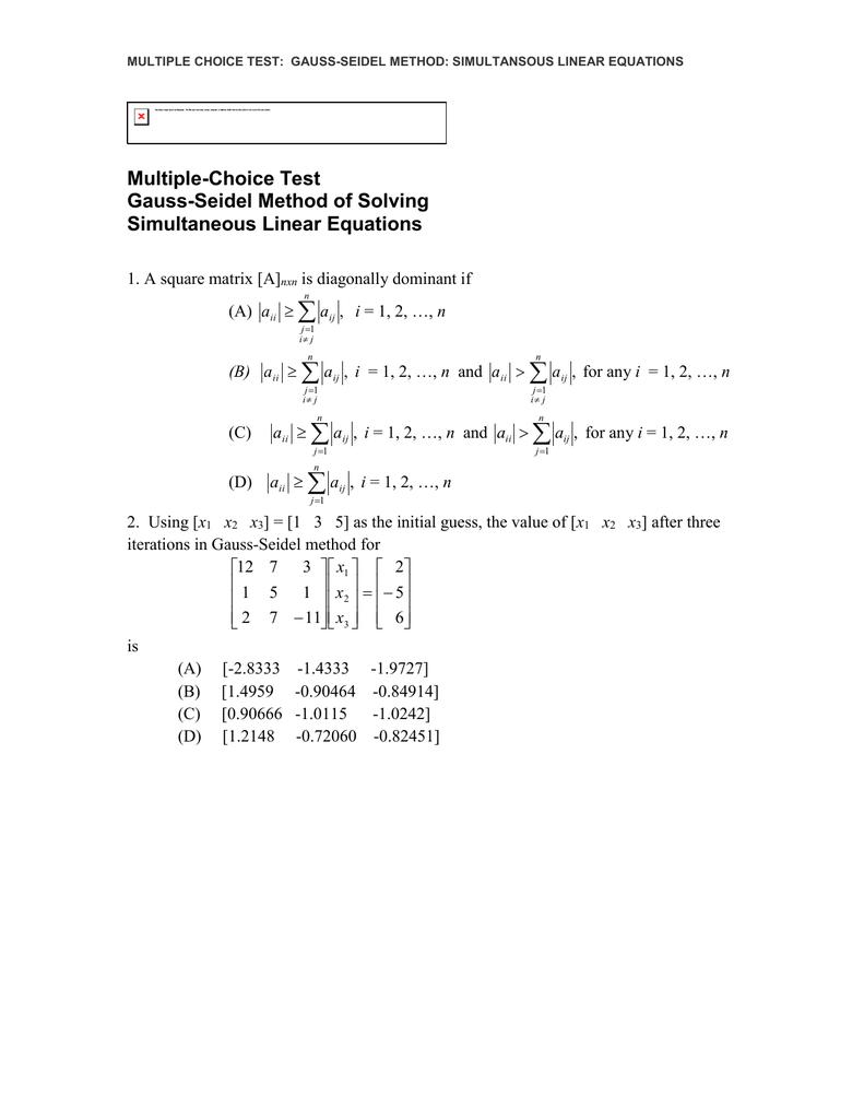 Multiple-Choice Test Gauss-Seidel Method of Solving