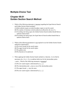 Multiple-Choice Test Chapter 09.01 Golden Section Search Method