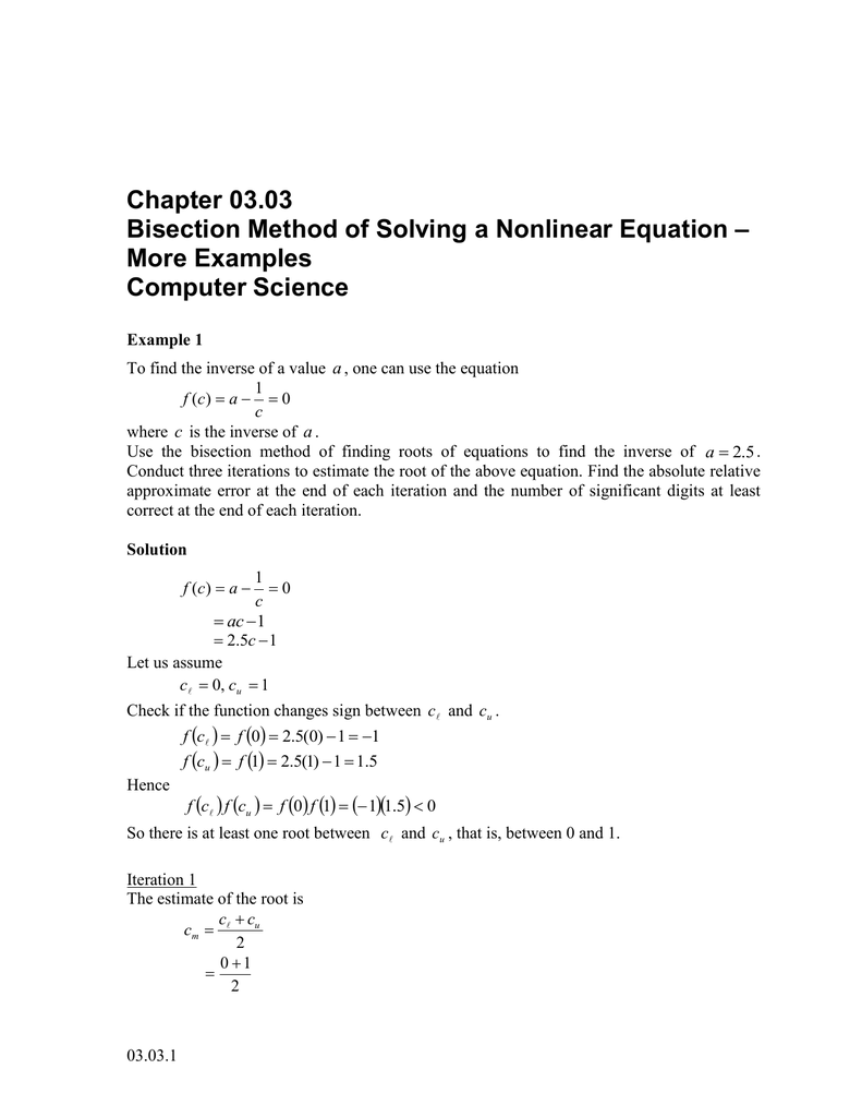 Chapter 03 03 – Bisection Method of Solving a Nonlinear