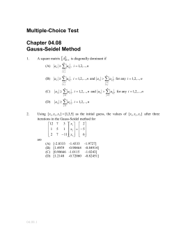 Multiple-Choice Test Chapter 04.08 Gauss-Seidel Method