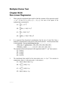 Multiple-Choice Test Chapter 06.04 Non-Linear Regression