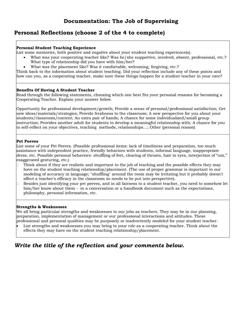 Documentation: The Job of Supervising