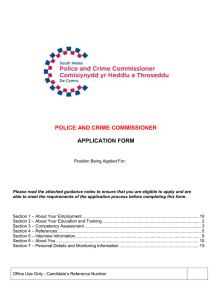 APPLICATION FORM POLICE AND CRIME COMMISSIONER