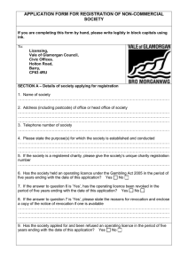 APPLICATION FORM FOR REGISTRATION OF NON-COMMERCIAL SOCIETY
