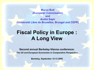Fiscal Policy in Europe : A Long View Marco Buti (European Commission)