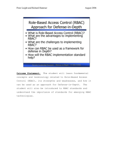 Role-Based Access Control (RBAC) Approach for Defense-in-Depth