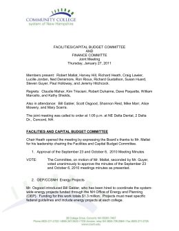 FACILITIES/CAPITAL BUDGET COMMITTEE AND FINANCE COMMITTE