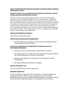 Link:  Professional development of activity in school setting; capstone