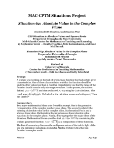 MAC-CPTM Situations Project  Situation 62:  Absolute Value in the Complex Plane