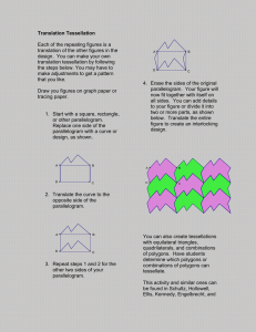 Translation Tessellation  Each of the repeating figures is a