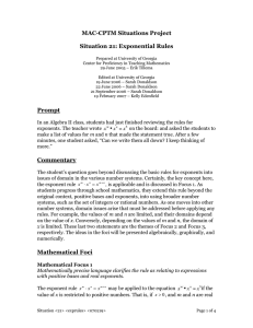 MAC-CPTM Situations Project  Situation 21: Exponential Rules