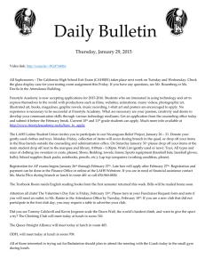 Daily Bulletin  Thursday, January 29, 2015