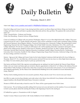 Daily Bulletin  Thursday, March 5, 2015