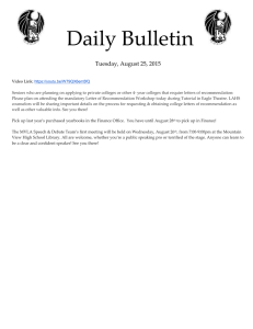 Daily Bulletin  Tuesday, August 25, 2015