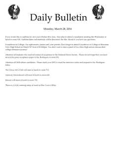 Daily Bulletin  Monday, March 28, 2016
