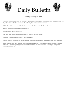 Daily Bulletin  Monday, January 25, 2016