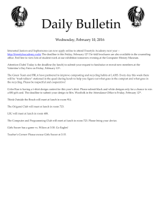 Daily Bulletin  Wednesday, February 10, 2016