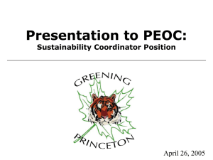 Presentation to PEOC: Sustainability Coordinator Position April 26, 2005