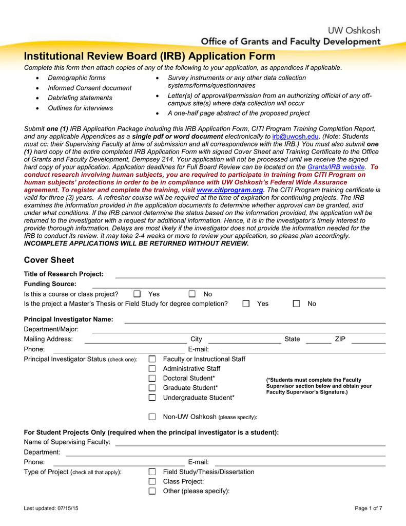 Institutional Review Board IRB Application Form – Irb Cover Letter Sample