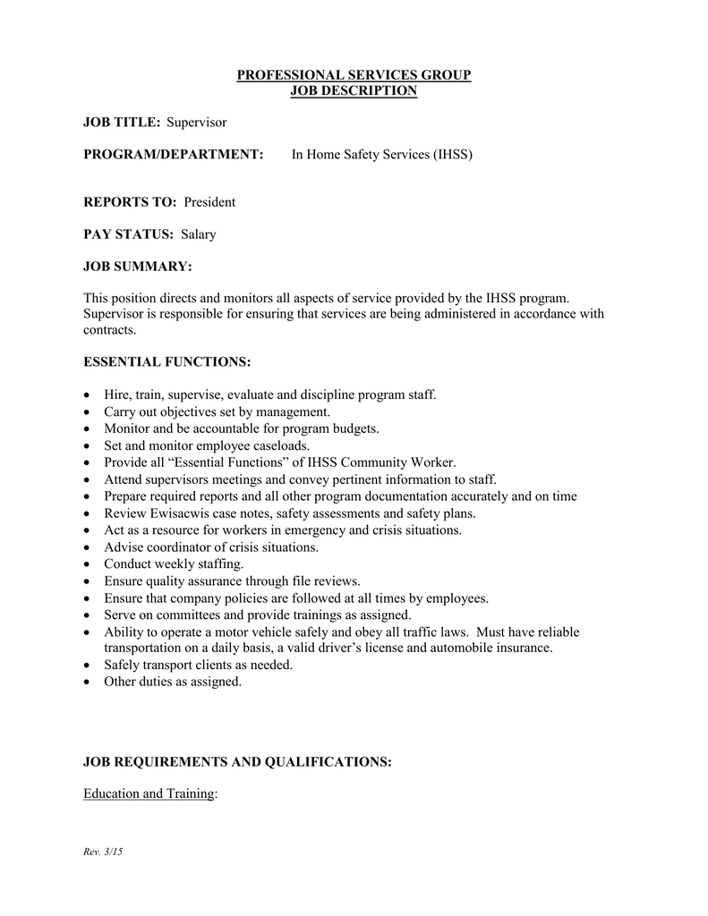 In Home Safety Services (IHSS) PROFESSIONAL SERVICES GROUP JOB DESCRIPTION