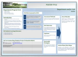 POSTER TITLE Department and/or Unit Author Department/Program Facts