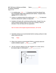 BCT 229 Intro to Kitchens and Baths    ... __________ 31 Kitchen Guidelines Quiz 3 1-31