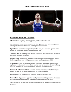 LAHS- Gymnastics Study Guide Gymnastics Terms and Definitions