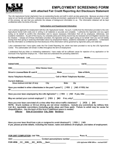 EMPLOYMENT SCREENING FORM  with attached Fair Credit Reporting Act Disclosure Statement