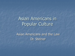 Asian Americans in Popular Culture Asian Americans and the Law Dr. Steiner