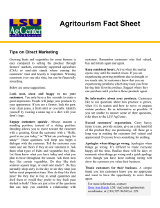 Agritourism Fact Sheet  Tips on Direct Marketing
